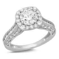 Clara Pucci 1.8 CT Round Cut Pave Halo Promise Wedding Bridal Engagement Ring Band 14k White Gold
