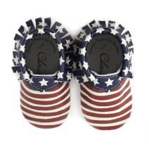 American Flag Patriotic USA 4th of July 100% American Leather Moccasins for Babies & Toddlers Made in US