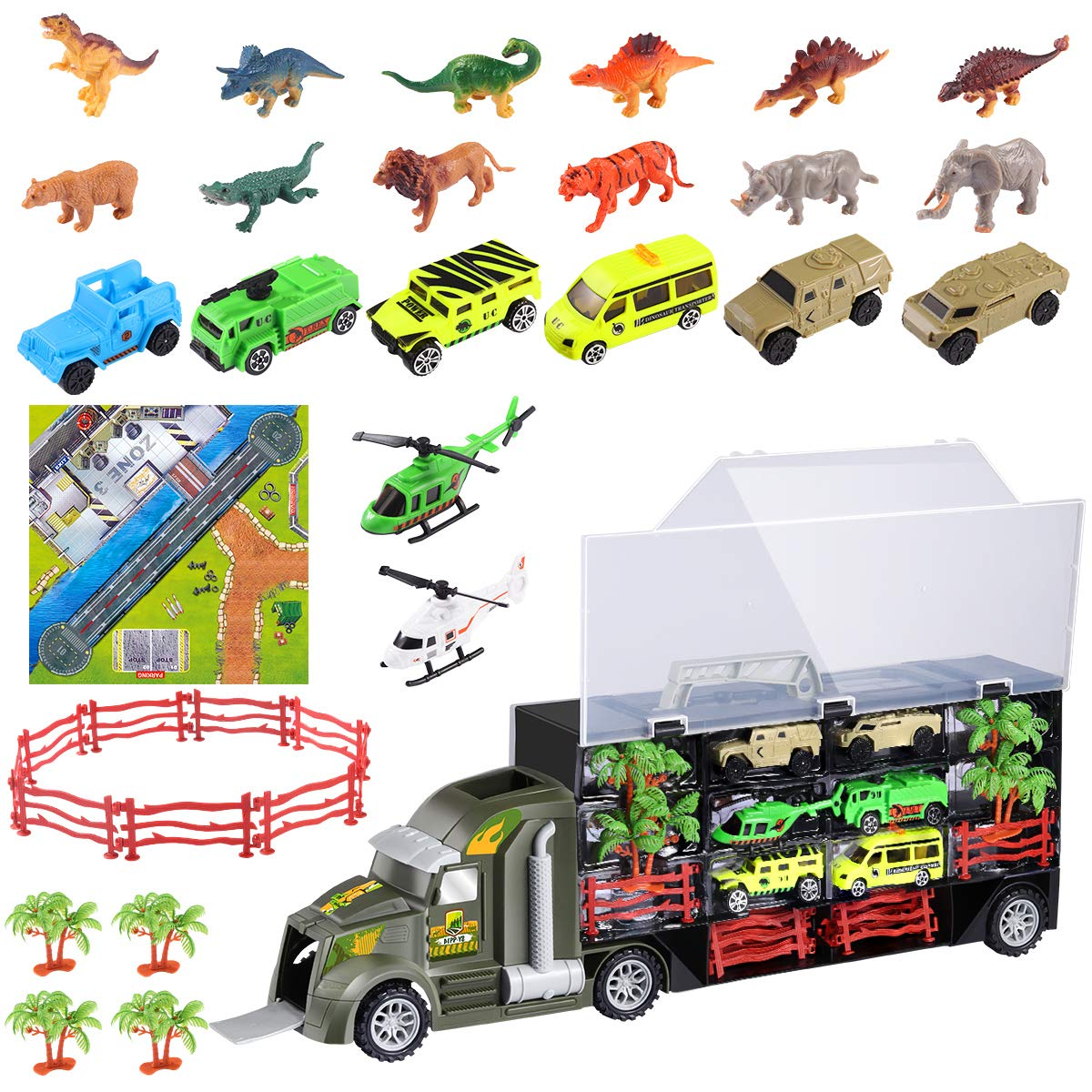 iBaseToy 35 Pieces Dinosaur Toys Truck, Car Toys Transport Carrier Truck with 6 Dinosaurs, 6 Animals, 6 Off-Road Cars, 2 Helicopters, 4 Trees, 10 Fences and 1 Map for 3-12 Years Old Boys and Girls