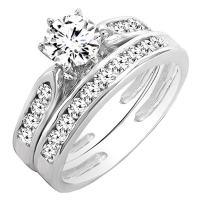 Dazzlingrock Collection IGI CERTIFIED 1.65 Carat (ctw) 14K Gold Round Diamond Ladies Bridal Engagement Ring Set