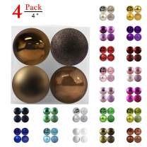 """GameXcel Christmas Balls Ornaments for Xmas Tree - Shatterproof Christmas Tree Decorations Large Hanging Ball Space Gray 4.0"""" x 4 Pack"""