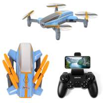 TongLi X11 Outdoor Folding FPV Quadcopter RC Drone with 1080P HD Camera for Adults and Teens Flow Positioning, Speed Control, Altitude Hold, Headless Mode, LED Light (Blue)