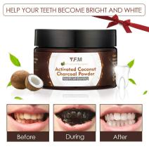 Teeth Whitening Activated Charcoal Powder - Y.F.M All Natural Tooth Whitener Powder Made from Coconut Shell, Charcoal - Eliminates Bad Breath, Coffee & Tea Stains, Oral Care   50g (1.7 Oz)