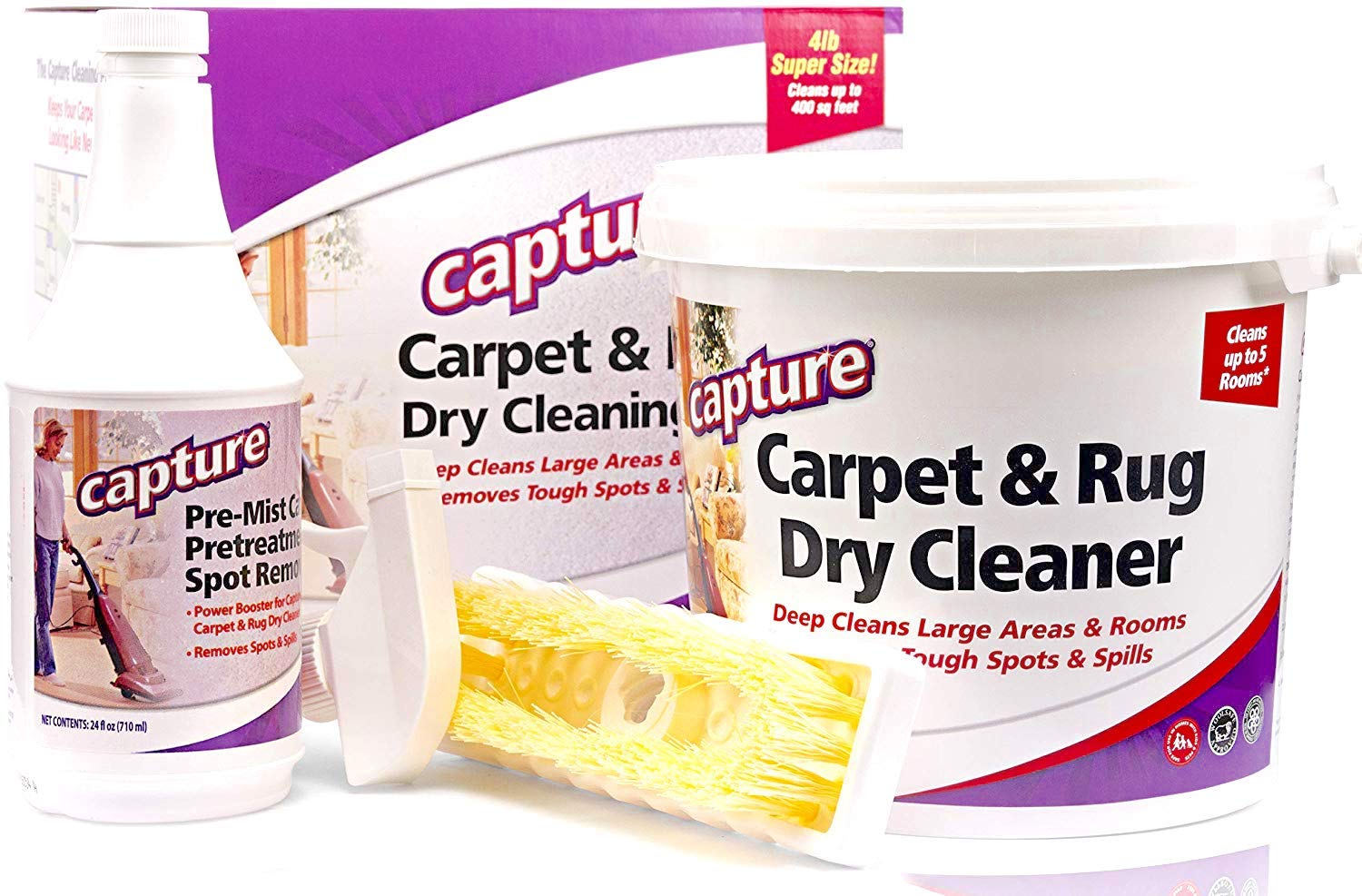 Capture Carpet Dry Cleaning Kit 400- Deodorize Stains Smell Moisture from Rug Furniture Clothes and Fabric, Pet Stains Odor and Smoke Too