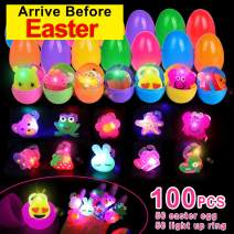 TURNMEON 100 Pcs Easter Basket Stuffers Easter Party Favors Game for Kids,50 Glow Stick Easter Eggs Filled with 50 LED Light Up Rings Glow In The Dark Easter Eggs for Easter Hunt Party Supplies