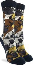 Good Luck Sock Women's Social Pugs Crew Socks - Brown, Adult Shoe Size 5-9