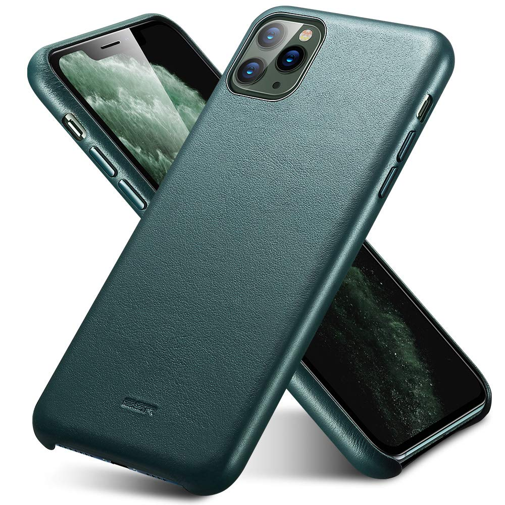 """ESR Premium Real Leather Case Compatible with iPhone 11 Pro Max - Slim Full Leather Phone Case [Supports Wireless Charging] [Scratch-Resistant] Protective Case for iPhone 11 Pro Max 6.5"""" 2019 - Green"""