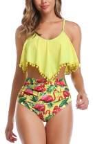 High Waisted Swimsuit Flounce Swimwear Ruffle Tassel Vintage Two Piece Bikini