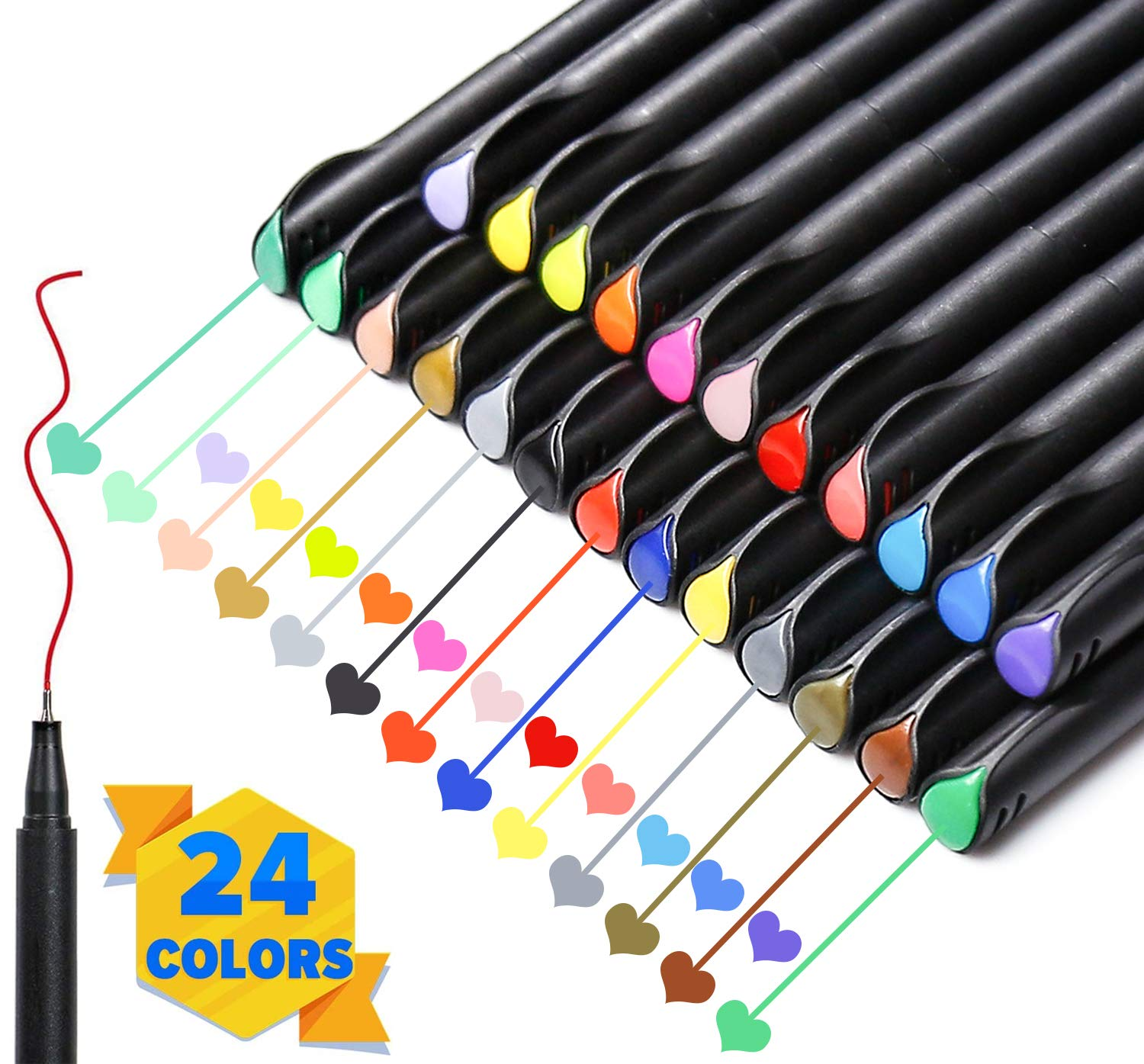 PuTwo Colored Pens, 24 Colors 0.4mm Fine Point Pens, Fine Tip Markers, Planner Accessories, Journaling Supplies, Fineliner Pens for Journaling, Drawing, Coloring, Scrapbooking