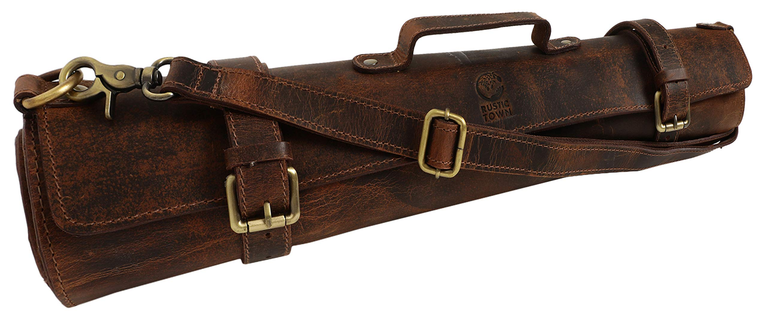 Rustic Town Leather Knife Roll Storage Bag | Elastic and Expandable 10 Pockets with Tool Pouch | Adjustable/Detachable Shoulder Strap | Travel-Friendly Chef Knife Case Roll (Brown)