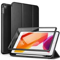 """SURITCH for iPad 10.2 Case, [Built in Screen Protector] [Pencil Holder] [Auto Sleep/Wake] Lightweight Leather Case Smart Cover and Magnetic Trifold Stand for New iPad 7th Generation 10.2"""" 2019(Black)"""