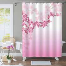 """MitoVilla Pink Cherry Blossom Shower Curtain for Women and Baby Girls Gifts, Sakura Florals Pattern Bathtub Curtain for Spring Theme Female Home Interior Decorations, Pink, 72"""" W x 72"""" L Standard"""