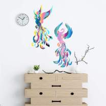 ADILAIDUN 2Pcs/Set Phoenix Wall Decals Color Feather Wall Sticker Peel and Stick Removable Decor Art Murals for Teen Boys Girls Room Kids Living Room Bedroom Home Decoration (Color)