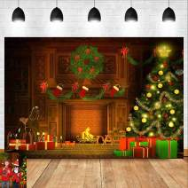 Cartoon Fireplace Christmas Tree Sparkle Photo Background Gift Xmas Stocking Photography Backdrop Winter New Year Photo Booths Studio Props 7x5ft Vinyl Children Birthday Party Banner Supplies