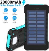 Hidver Solar Phone Charger 20000mAh Portable Power Bank Waterproof Battery Packs with Dual Ports, Compass, Flashlight for Camping Solar Panel for Smartphones,GoPro Camera,GPS and Other Devices
