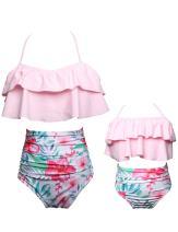 iClosam Family Matching Swimsuit Women Two Pieces High Waisted Bathing Suits Monokini Swimwear