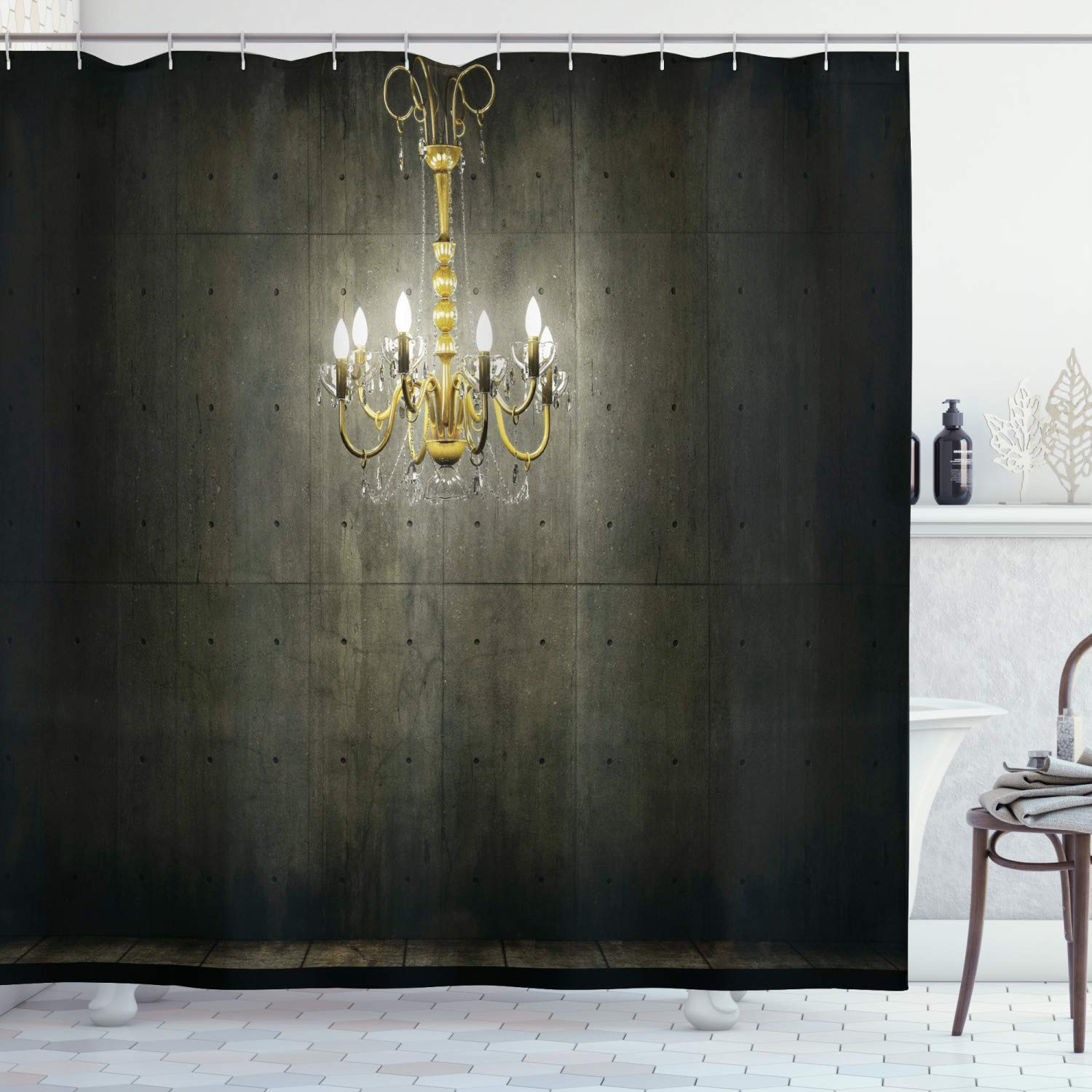 """Ambesonne Grunge Shower Curtain, Classic Chandelier in a Dark Gothic Wooden Room Vintage Style Room Picture, Cloth Fabric Bathroom Decor Set with Hooks, 70"""" Long, Grey Yellow"""