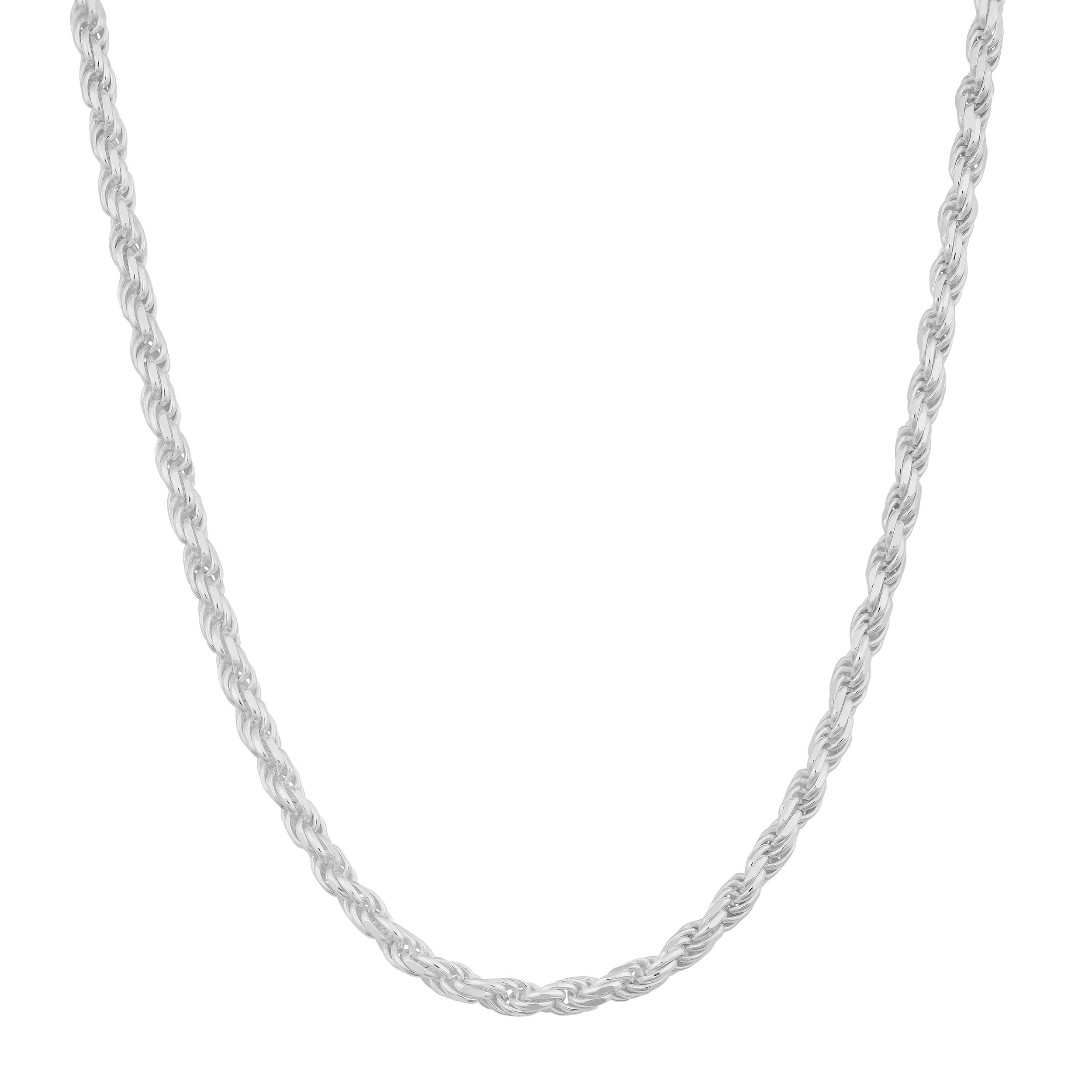 Kooljewelry Sterling Silver 1.9 mm Diamond-Cut Rope Chain Necklace (18, 20, 22, 24, 30, or 36 inch)