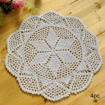kilofly Crochet Cotton Lace Table Placemats Doilies Value Pack, 4pc, Hexa, White, 12 inch