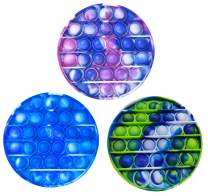 ZNNCO 3PCS Silicone Tie-dye Push pop Bubble Fidget Toy, Autism Special Needs Stress Reliever, Squeeze Sensory Tools to Relieve Emotional Stress for Kids Adults (Round)