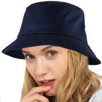 Womens Bucket Hat Fishing Hat - Black Cotton Bucket Hats for Women Sun Hat Cap