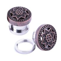 BodyJ4You Screw Fit Plugs Stainless Steel Tribal Lotus 4G-16mm (2 Pieces)