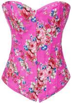 Alivila.Y Fashion Womens Vintage Floral Denim Overbust Corset Bustier Top