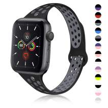 TRA Sport Slim Silicone Band Compatible with Apple Watch 38mm 42mm 40mm 44mm, Thin Breathable Narrow Replacement Strap Wristband for iWatch Series 5/4/3/2/1 Women & Men (Black-Gray, 38mm/40mm)