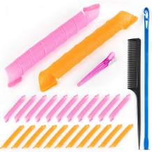 Ponwec 24pcs Spiral Hair Curlers,55cm(21.65inch) No Heat Curlers Tool Set with 1 Hook,1 Partition Comb&1 Distribution Clip