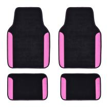 CAR PASS Rainbow Waterproof Universal Fit Car Floor Mats, Fit for SUV,Vans,sedans, Trucks,Set of 4(Black with Rose Red)