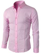 H2H Mens Casual Slim Fit Dress Shirts Button Down Business Shirts Spandex Fabric