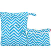 Damero 2pcs Travel Wet and Dry Bag, Reusable Wet Bags Organizer with Two Zippered Pocket for Cloth Diaper, Pumping Parts, Swimsuit and Gym, Blue Chevron