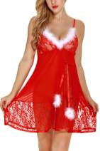 AIYUE Womens Sexy Christmas Babydoll Lingerie Set V Neck Lace Teddy Red Slip Lingerie for Women