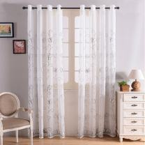 """Top Finel Embroidered White Sheer Curtains 96 Inch Long for Bedroom Living Room Faux Linen Fabric Grommet Top Window Treatments, White Buterfly, 54""""x96"""", 2 Panels"""