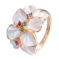 Yoursfs Enamel Flower Ring for Women Rose Gold Plated White Petal Colorful Crystal Decorative Ring Wedding Ring