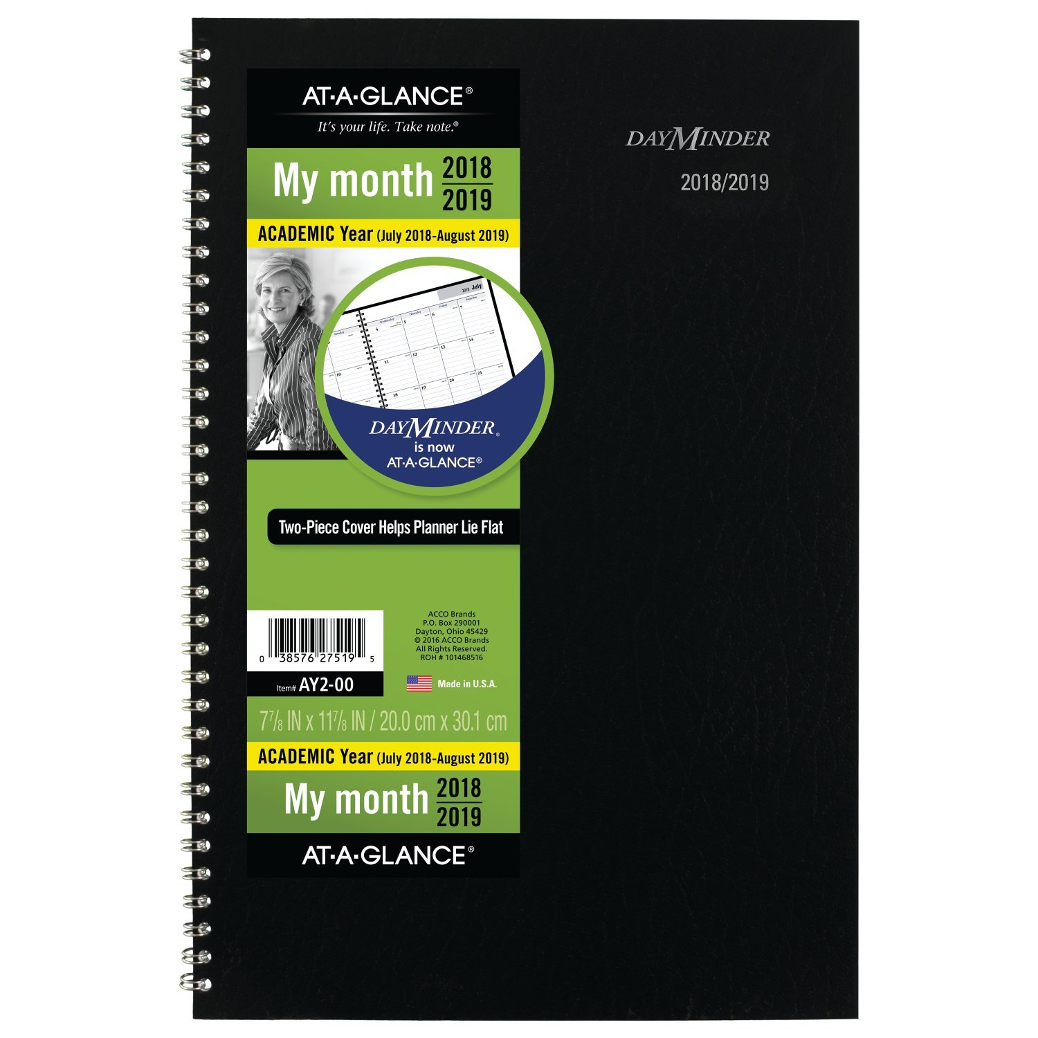 AT-A-GLANCE 2018-2019 Academic Year Monthly Planner, Medium, 7-7/8 x 11-7/8, DayMinder, Black (AY200)