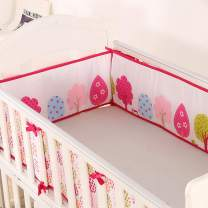 Baby Crib Bumpers Pink Breathable Bumper Pads 4 Piece Safe Nursery Washable Crib Bedding Padded Liner Set for Baby Girls and Boys (Trees Animals)