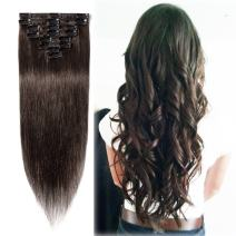 """Clip in Hair Extensions Dark Brown 14-24 inch Remy Human Hair for Women 8pcs 18 Clips Full Head Soft Straight Hair(18""""=70g #2)"""