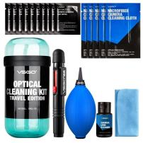 VSGO DKL-18 UES DSL Camera Lens Cleaning Kits: Lens Cleaner, Lens Pen, Microfiber Cloth, Air Blower, Wet Wipe, Suede Screen Cleaning Cloth and Waterproof Bottle Container, Blue