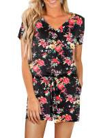 Artfish Womens Summer Casusal Sexy Wrap V Neck Short Rompers Jumpsuits Floral
