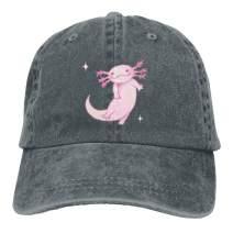 YISHOW Men Women Classic Denim Cartoon Pink Axolotl Adjustable Baseball Cap Dad Hat Low Profile Perfect for Outdoor