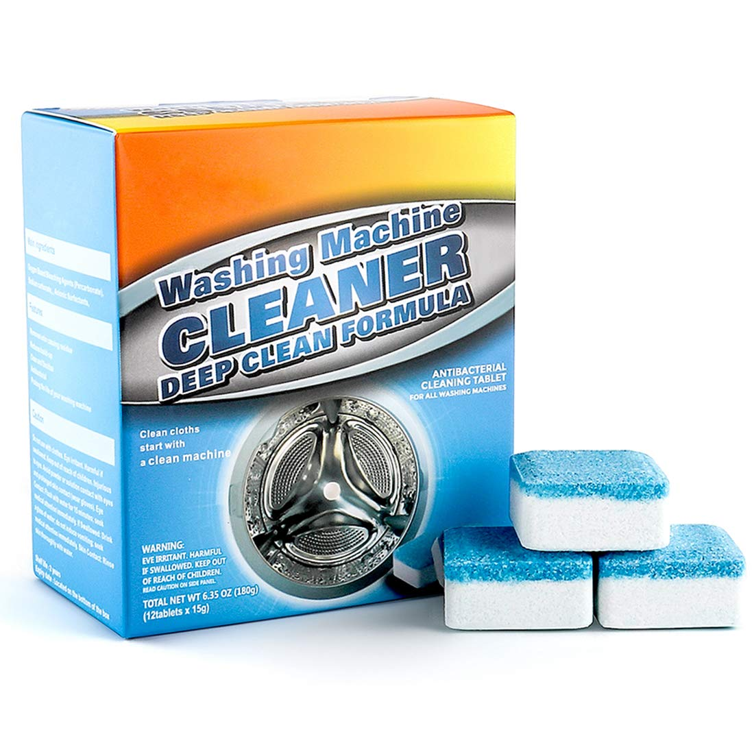 12 Pieces Washing Machine Cleaner - Dahoo Washer Machine Cleaner Effervescent Tablets, Solid Deep Cleaning Tablets for All Machines