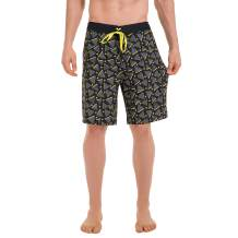Mens Quick Dry Board Shorts No Mesh Lining, Water Resistant Stretch Swim Trunk with Pocket, 20% Spandex Surf Shorts