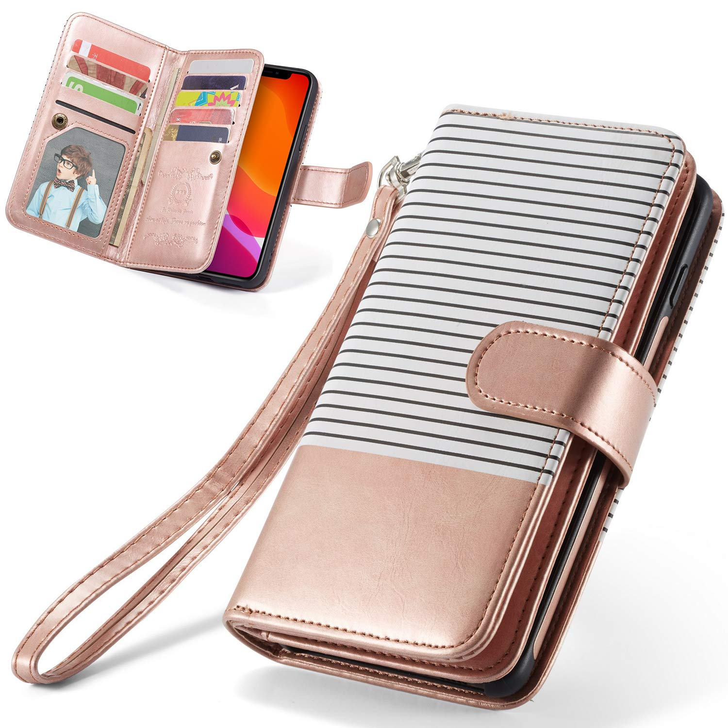 iPhone 11 Pro Wallet Case, iPhone 11 Pro Case XRPow [2 in 1] Magnetic Detachable Wallet Case [PU Leather] Folio Flip [9 Card Slot] [Wrist Strap] Durable Protection Cover for iPhone 11Pro 5.8Inch Gold
