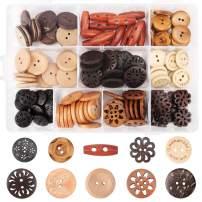 Assorted Wooden Buttons, 120Pcs Wooden Handmade Buttons, Wooden Sewing Buttons Art DIY Craft Supplies with Box