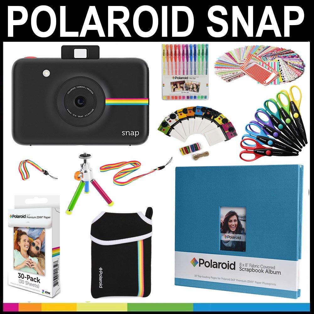 Polaroid Snap Instant Print Camera Gift Bundle + Zink Paper (30 Sheets) + 8x8 Cloth Scrapbook + Pouch + 6 Edged Scissors + 100 Sticker Border Frames + Color Gel Pens + Frames + Accessories
