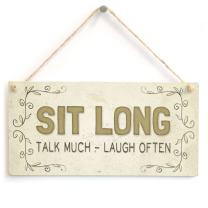 """Meijiafei Sit Long Talk Much - Laugh Often - Beautiful Friendship Home Accessory Gift Sign 10""""x5"""""""
