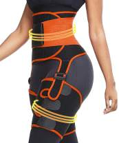 3 in 1 Waist Trainer and Thigh Trimmer Double Compression Belt Leg Support Sweat Sauna Effect (Orange, Large/X-Large)