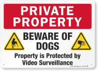 """SmartSign 10"""" x 14"""" Aluminum Private Property Beware of Dogs Sign, Property is Protected by Video Surveillance Sign 