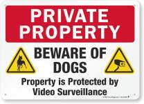 "SmartSign 10"" x 14"" Aluminum Private Property Beware of Dogs Sign, Property is Protected by Video Surveillance Sign 